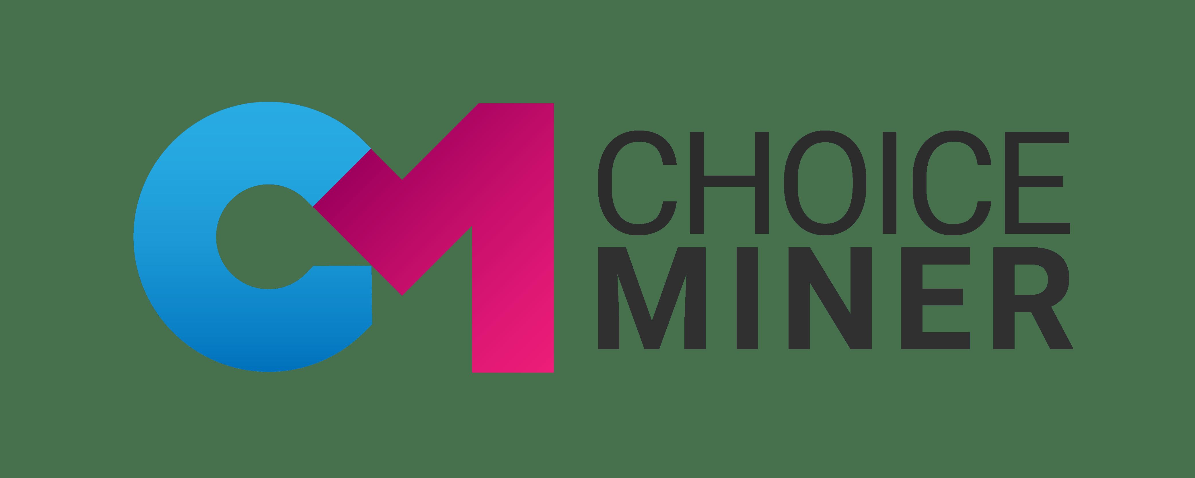 Logo von CHOICEMINER, Pink und Blaue Wortmarke CM, anthrazit farbener Schriftzug